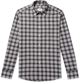 Dunhill Button-Down Collar Checked Cotton-Flannel Shirt - White