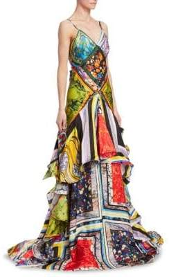 Rosie Assoulin Printed Tiered Ruffle Ball Gown