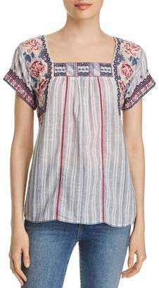 Johnny Was Kiernan Embroidered Striped Top