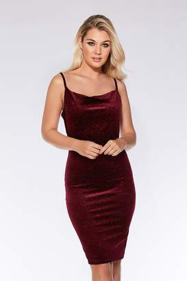 Quiz Wine Velvet Glitter Midi Dress