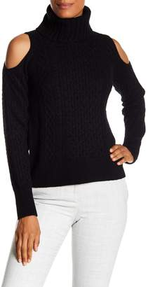 Theory Cold Shoulder Wool Blend Turtleneck Sweater
