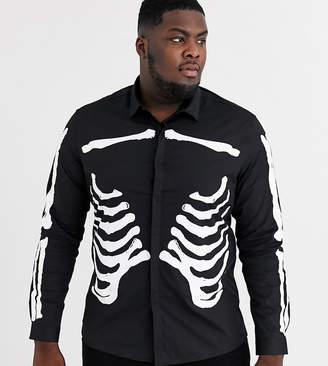 Asos Design DESIGN Plus halloween skinny skeleton rib cage printed shirt in black