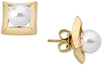 Majorica 18k Gold-Plated Sterling Silver Imitation Pearl Square Stud Earrings
