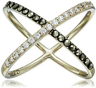 """Judith Jack Classics"""" -Tone Sterling Silver Ring with Crystals and Marcasite"""
