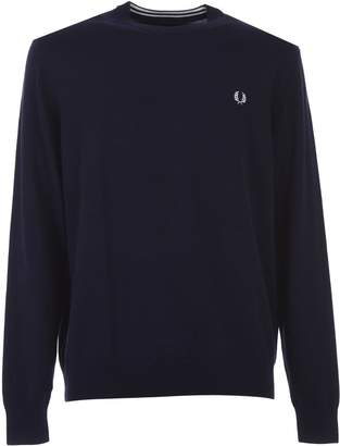 Fred Perry Blue Classic Cotton Crew Neck Jumper