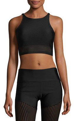 Onzie Perforated Mesh Crop Top/Sports Bra, Black $45 thestylecure.com
