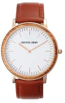Original Grain Minimalist Leather Strap Watch, 40mm