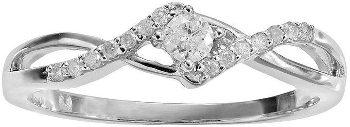 Diamond essentials platilite .14-ct. t.w. diamond twist promise ring