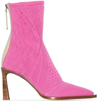 Fendi 85mm knit heeled boots