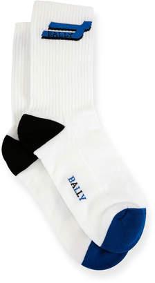 Bally Men's Logo-Pattern Tube Socks, White/Blue