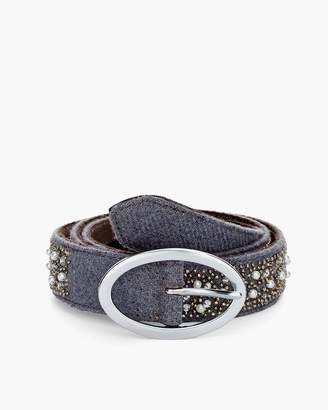 Chico's Chicos Faux-Pearl Studded Belt