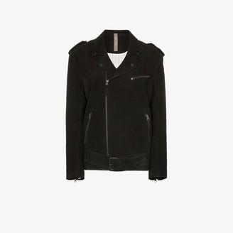 Lot Lthr belted biker jacket