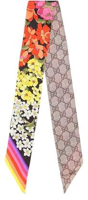 Gucci GG and floral-printed silk scarf