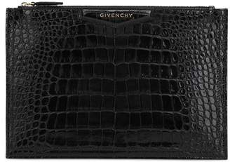 Givenchy Croc Embossed Leather Pouch