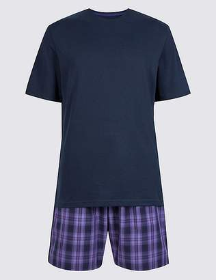 Marks and Spencer Pure Cotton Checked Pyjama Shorts Set
