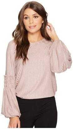 1 STATE 1.STATE Long Sleeve Smocked Rib Knit Women's Clothing