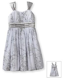 Speechless Girls' 7-16 White/Silver Floral Print Dress