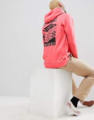 Vans Stack Up Pullover Hoodie With Back Print In Pink VA3HFIEIY