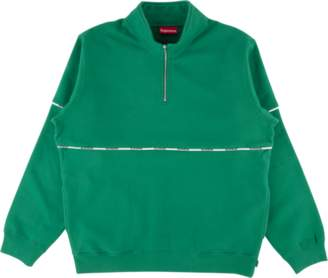 Supreme Logo Piping Half Zip Sweatshir - 'SS 18' - Light Pine
