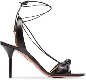 Aquazzura black Virginie 85 leather sandals