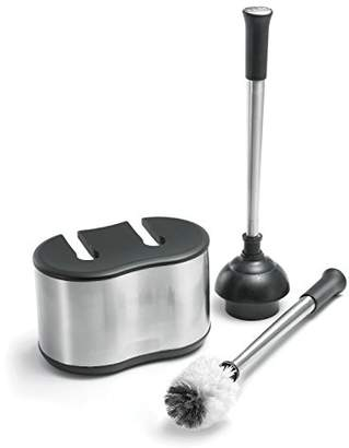Polder Toilet Brush and Plunger Bath Caddy – Replacement Brush Head Included - Stainless Steel & Black