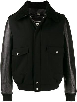 Saint Laurent wool and leather aviator jacket
