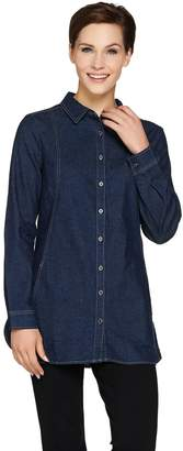 Denim & Co. Petite Long Sleeve Button Front Shirt