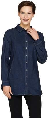 Denim & Co. Petite Long Sleeve Button Front Shirt