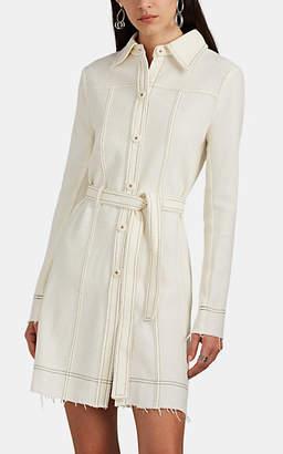 LE KILT Women's Frayed Bouclé Tweed Belted Shirtdress - Ecru