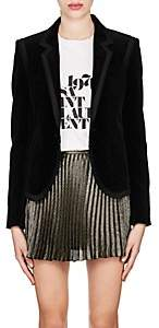 Saint Laurent Women's Ribbon-Trimmed Velvet Blazer - Black