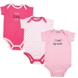 Luvable Friends Baby Girls' Bodysuits, 3-pack