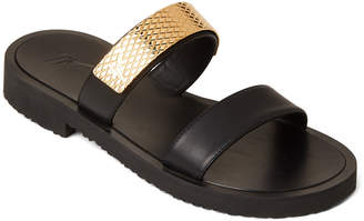 Giuseppe Zanotti Black Logo Plate Double Band Slide Sandals