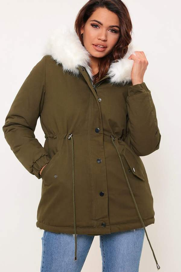 Isawitfirst Khaki Faux Fur Lined Hooded Parka