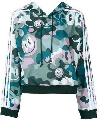 adidas all-over print cropped hoodie
