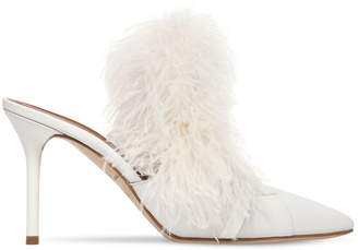 Malone Souliers 85mm Magda Leather & Feather Mules