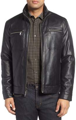 Cole Haan Faux Leather Zip Jacket