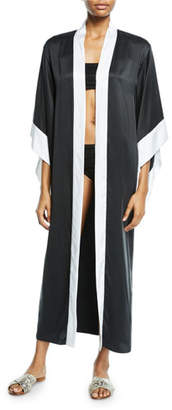 Marie France Van Damme Open-Front Silk Coverup Kimono