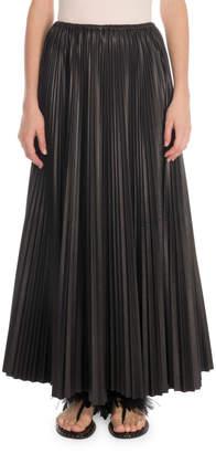 Valentino Plisse Leather Maxi Skirt