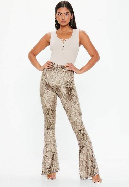 Brown Snake Print Velvet Flare Trousers, Brown