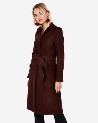 Express Long Belted Wool-Blend Coat