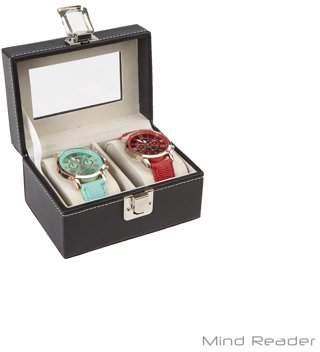 Mind Reader Watch Box Organizer Case, Fits 2 Watches, Mens Jewelry Display Drawer Storage, PU Leather, Black