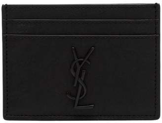 Saint Laurent black crocodile embossed leather cardholder