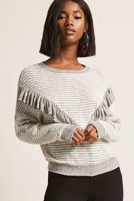 Forever 21 Striped Marled Ruffle Top