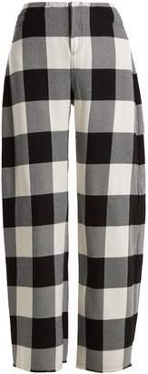 Marques Almeida MARQUES'ALMEIDA High-rise wide-leg checked wool trousers