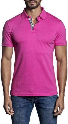 Jared Lang Men's Short-Sleeve Knit Polo Shirt Fuchsia