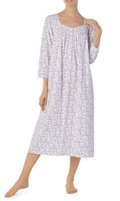 Eileen West Printed Long-Sleeve Nightgown
