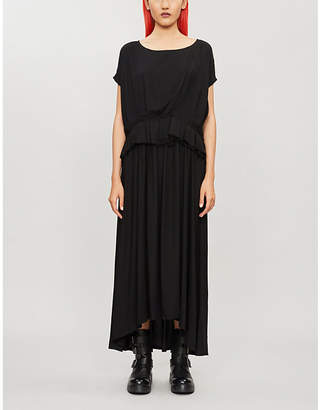 Ann Demeulemeester Flared-trim rayon dress