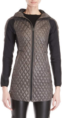 Bacon Grey Diamond Quilted Hooded Longline Jacket