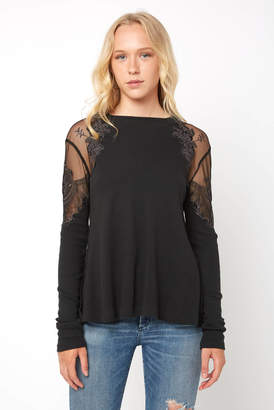 Free People Daniella Embroidered Lace Inset Top