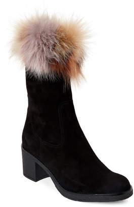Alberto Zago Black Real Fur Trim Suede Boots